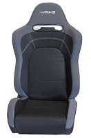 NRG Innovations RSC-100 EVO Style Cloth Sport Seat w/ Logo - Black (Sold as a Pair)