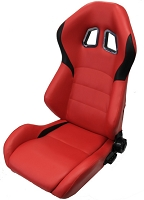 NRG Innovations RSC-202 PVC Leather Sport Seats Red w/ Black Trim  (Sold as a Pair)