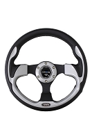 320mm Sport Leather Steering Wheel with Silver Inserts