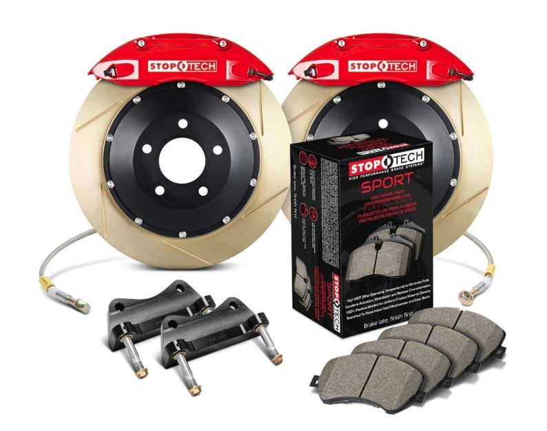StopTech 2014-19 Ford Fiesta ST Front Big Brake Kit Red ST-40 Calipers 328x28mm Zinc Slotted Rotors