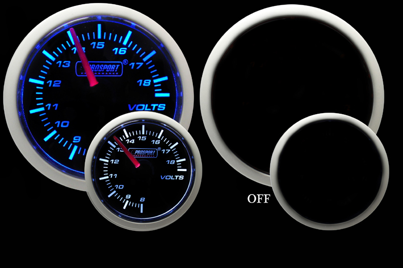 Prosport Gauges Voltmeter Gauge (Electric) -Blue/White 52mm