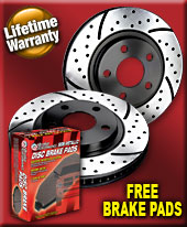 BP Premium Dimpled and Slotted Front Brake Rotors for 2010+ Hyundai Genesis Coupe Brembo Brakes (Set of 2) w/ Free Brake Pads