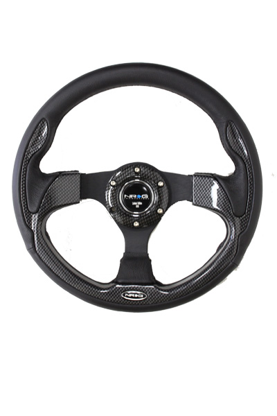 320mm Sport Leather Steering Wheel with Carbon Fiber Look Inserts
