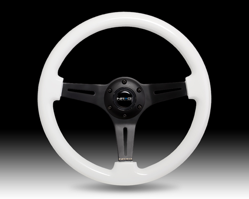 Classic Luminor White Wood Grain Wheel, 350mm, 3 spoke center in BLACK