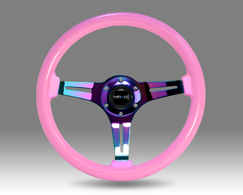 Classic Wood Grain Wheel, 350mm, Pink colored wood, 3 spoke center in Neochrome
