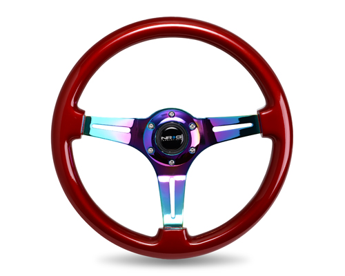 Classic Wood Grain Wheel, 350mm, Red colored wood, 3 spoke center in Neochrome