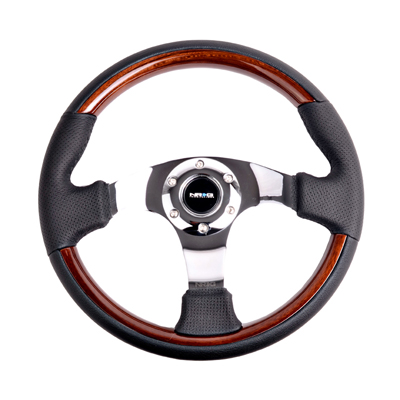 Classic Wood Grain Wheel, 350mm, 3 spoke center in chrome, Leather wheel with wood accents