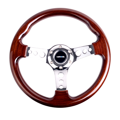 Classic Wood Grain Wheel, 330mm, 3 spoke center in chrome