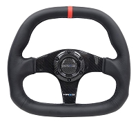 NRG Carbon Fiber Steering Wheel (320mm) Black CF Center w/Black Stitch Red Center Mark Flat Bottom