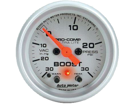 Autometer Ultra-Lite Electronic Boost Gauge 52mm 30 PSI Warn